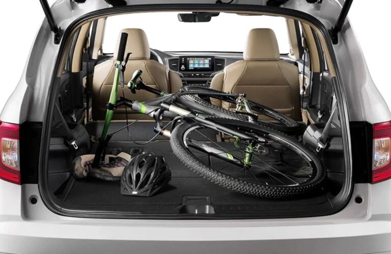 Bicycle in the back of a 2020 Honda Pilot
