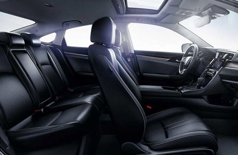 2021 Honda Civic Sedan interior passenger side view of front and rear seats