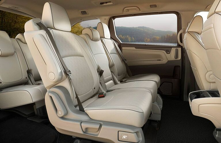 2021 Honda Odyssey interior passenger side view of second and third row seats