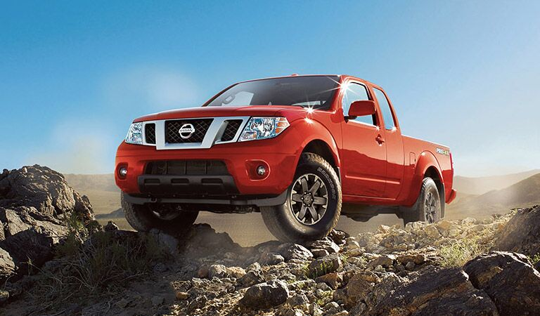 Nissan Frontier on the rocks in red
