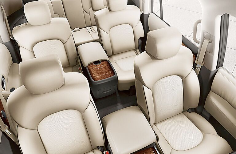 2018 Nissan Armada interior seats seen from front looking back