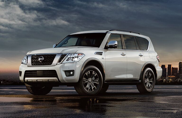 2018 Nissan Armada exterior quarter view against city skyline at night