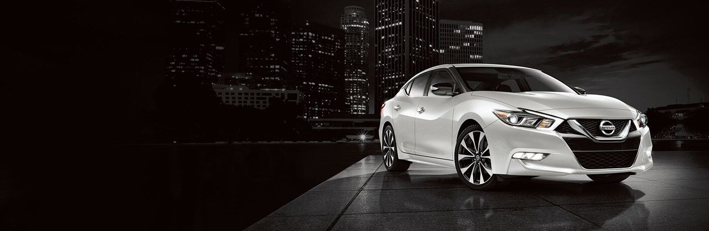 White 2018 Nissan Maxima on a black background
