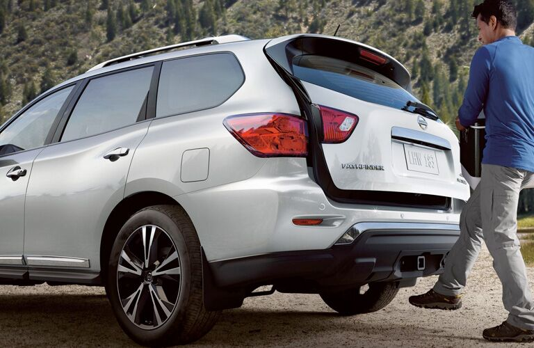 rear view of a white 2019 Nissan Pathfinder