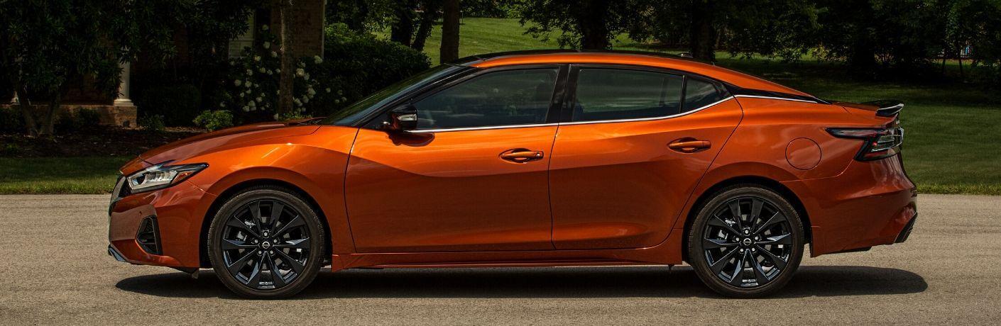 Exterior view of an orange 2020 Nissan Maxima