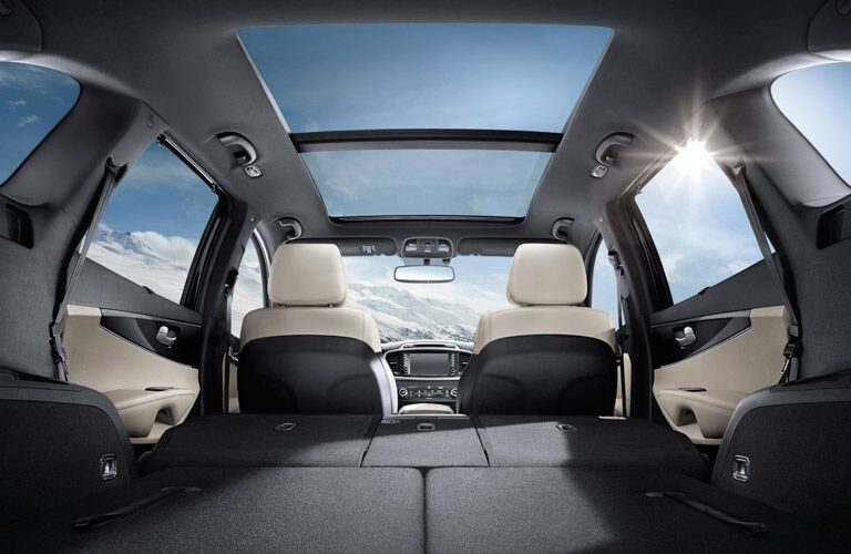 Spacious cargo area inside 2016 Kia Sorento