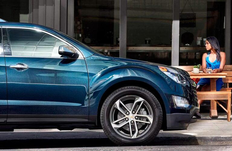 2017 Chevy Equinox front wheel side view blue