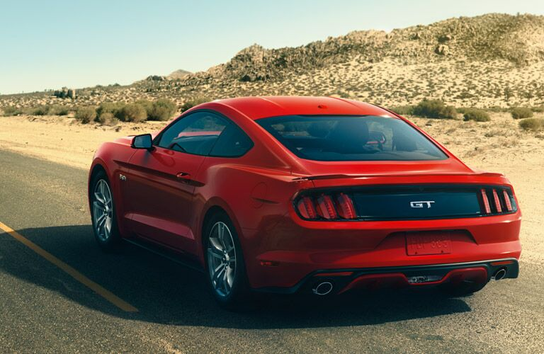 2017 Ford Mustang red back side view
