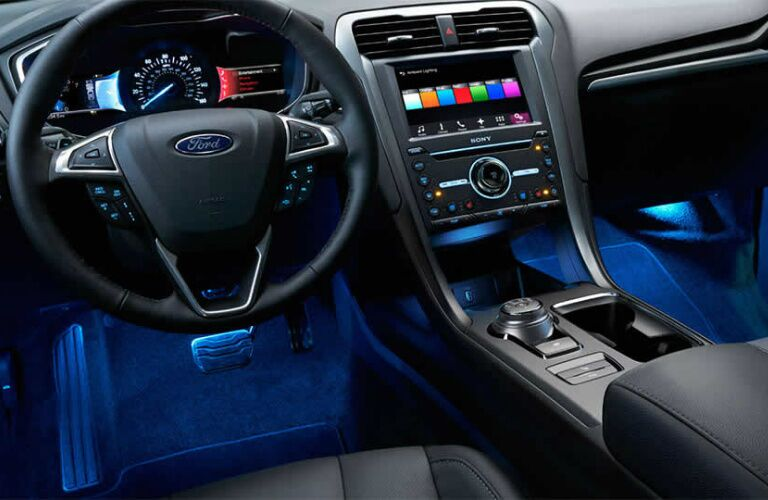 2017 Ford Fusion interior with accent lighting