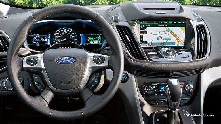dashboard view of the 2015 Ford C-Max Hybrid