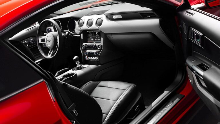 The interior of the 2015 Ford Mustang Athens GA is sleek and sophisticated.