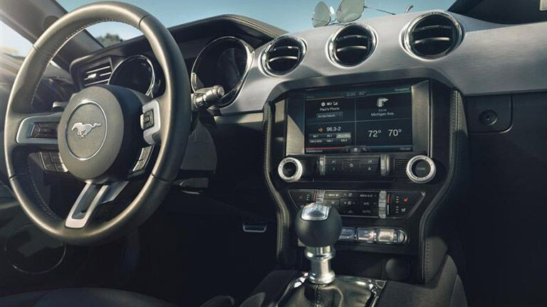 The 2015 Ford Mustang Athens GA interior is all decked out with cool features.
