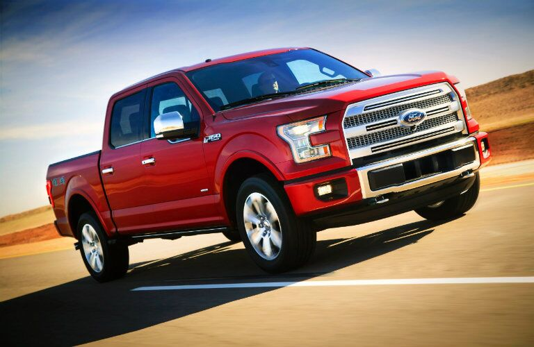 Ford F-150 Platinum grille style on the road