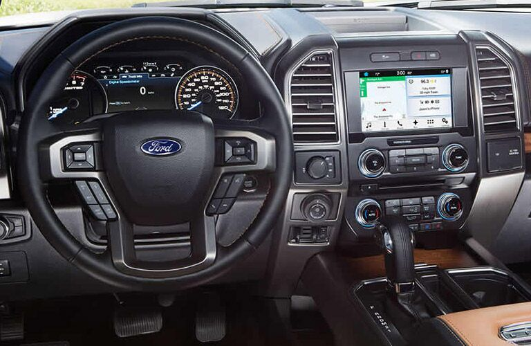 Steering wheel and dashboard view on the 2016 Ford F-150 at Akins Ford