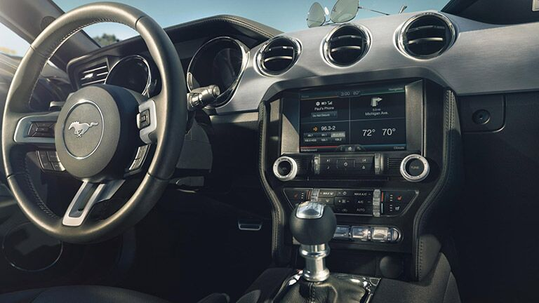 Interior dashboard view of the 2016 Ford Mustang