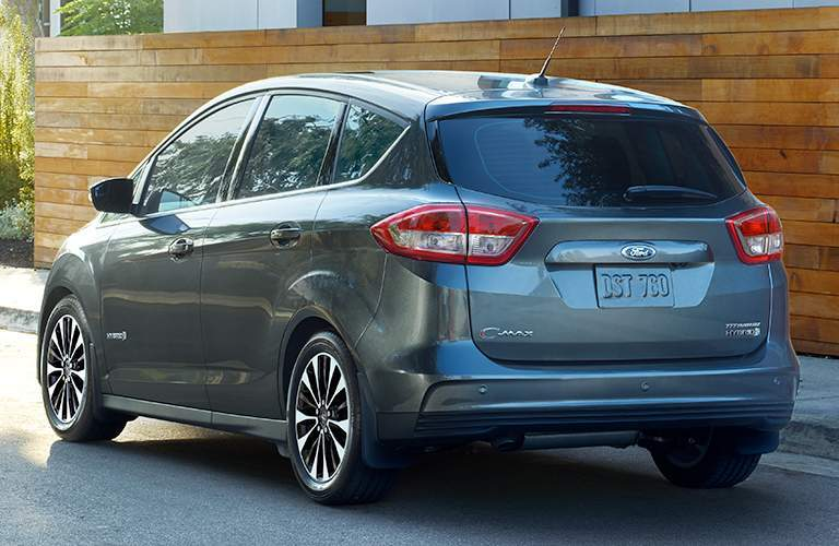 rear view of a gray 2018 Ford C-MAX Hybrid