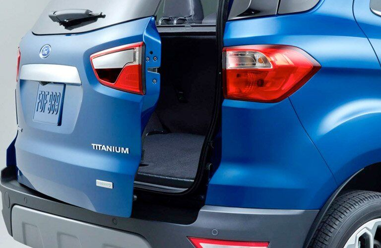 rear cargo door ajar on a blue 2018 Ford EcoSport