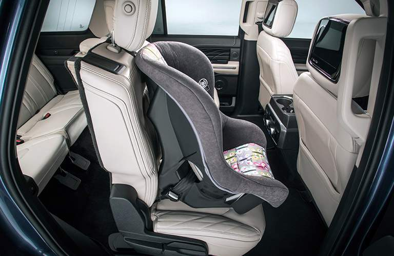 side view of the rear passenger space in a 2018 Ford Expedition with a child safety seat