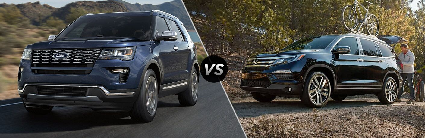 2018 Ford Explorer next to the 2018 Honda Pilot