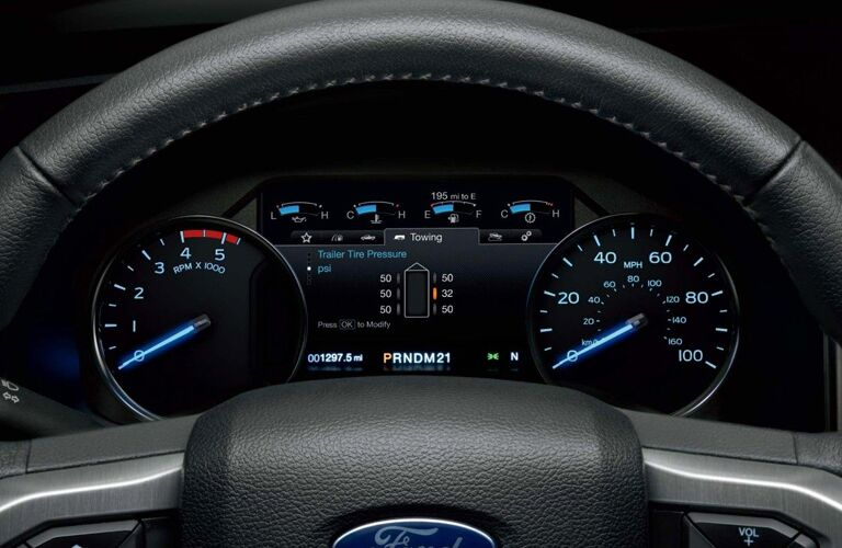 close up of the driver information display in a 2018 Ford F-250 Super Duty