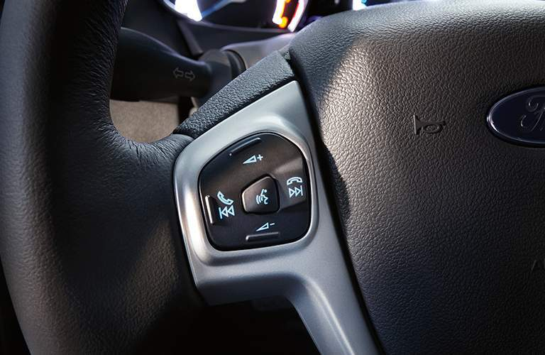 steering wheel mounted controls of a 2018 Ford Fiesta