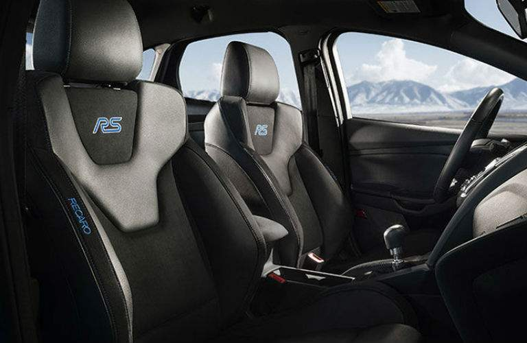 side view of the front passenger space in a 2018 Ford Focus RS