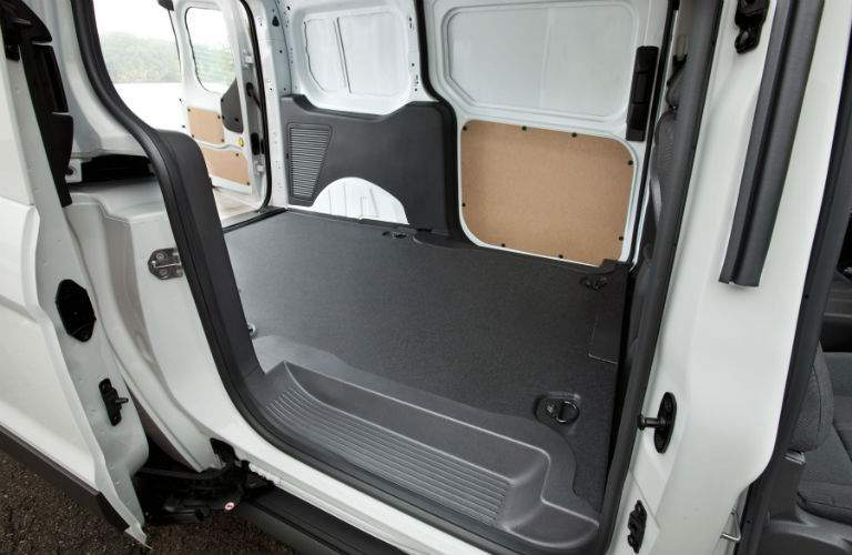 full view of the rear cargo area of a 2018 Ford Transit Connect Cargo Van with its doors open