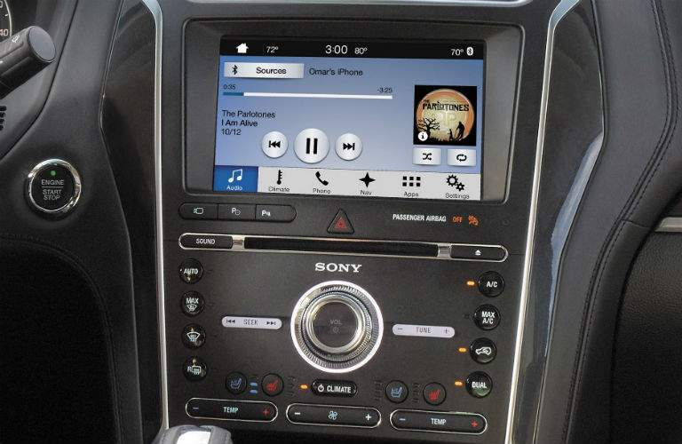 close up of the infotainment system and instrument panel of a 2018 Ford Explorer
