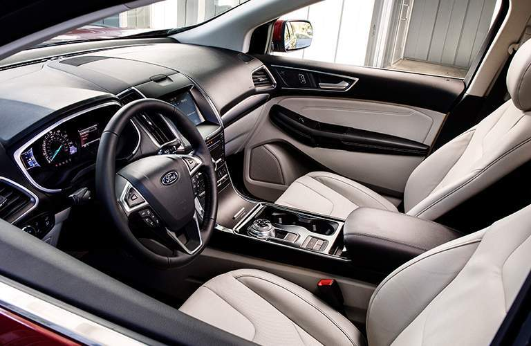 high angle view of the front interior of a 2019 Ford Edge