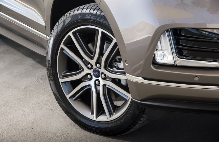 close up of the front wheel of a 2019 Ford Edge Titanium Elite