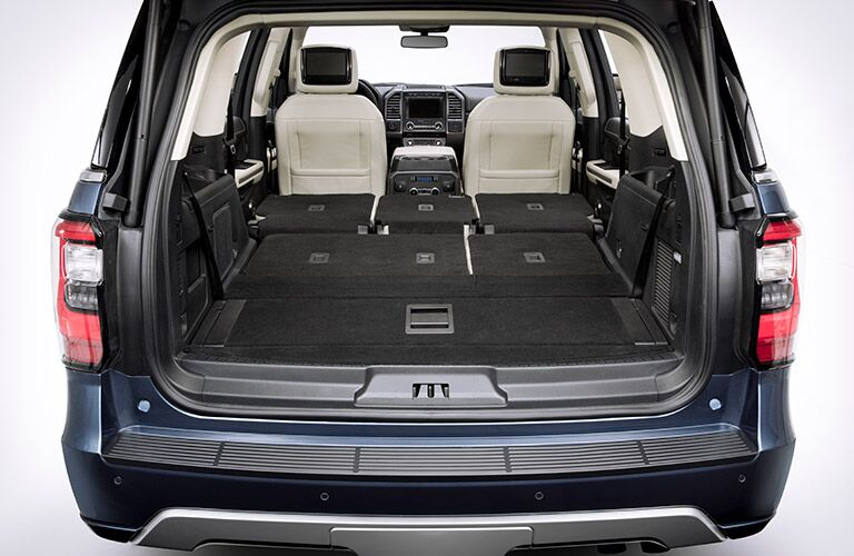 rear cargo area of a 2019 Ford Expedition with all seats down