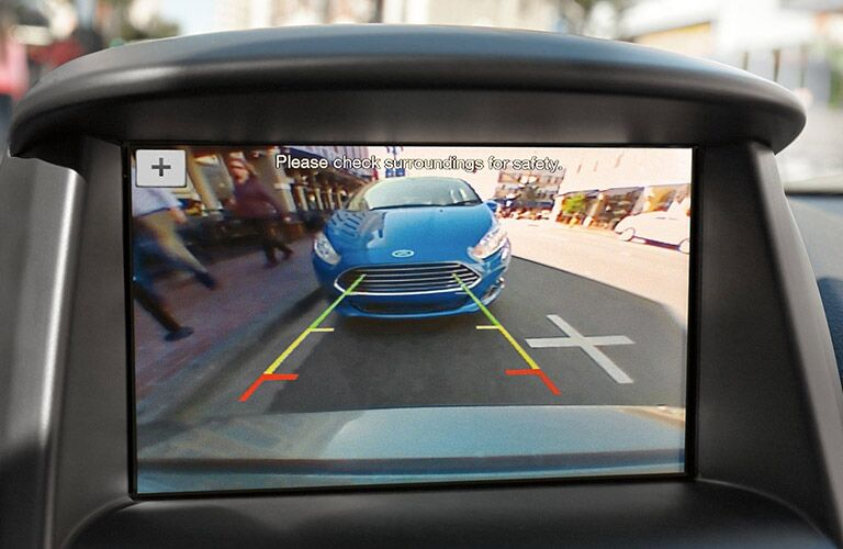 rearview camera in a 2019 Ford Fiesta sedan