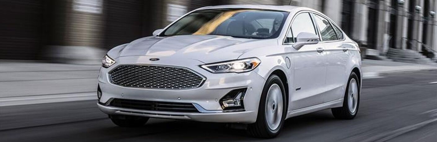 front view of a white 2019 Ford Fusion Hybrid