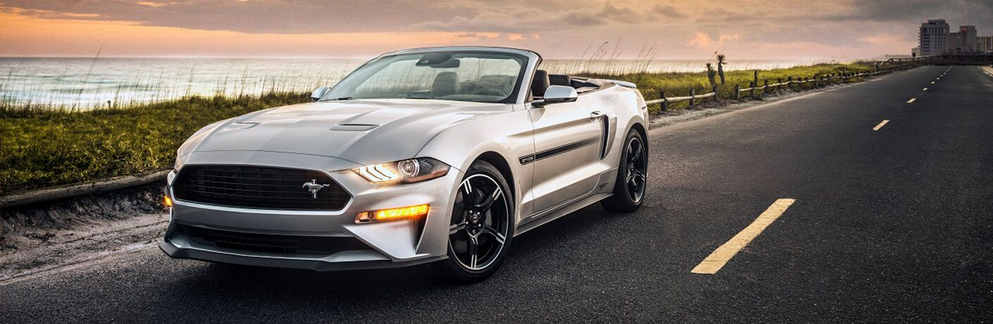 front view of a silver 2019 Ford Mustang convertible