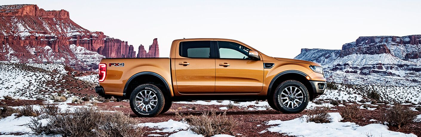 2019 Ford Ranger Lariat on snowy mountainous terrain
