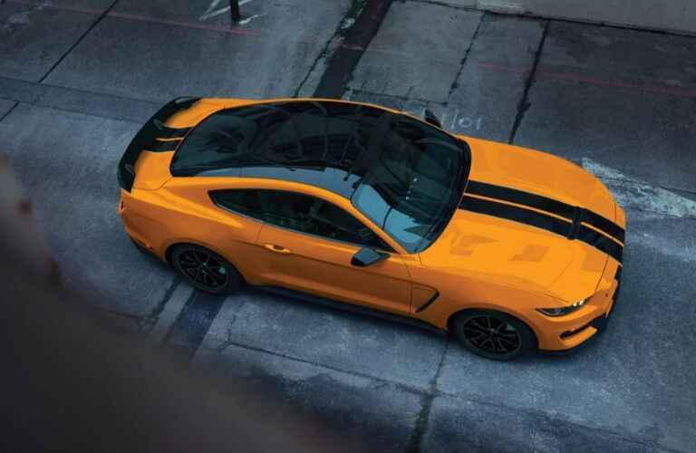 2019 Ford Mustang Shelby GT350 yellow with painted racing stripes