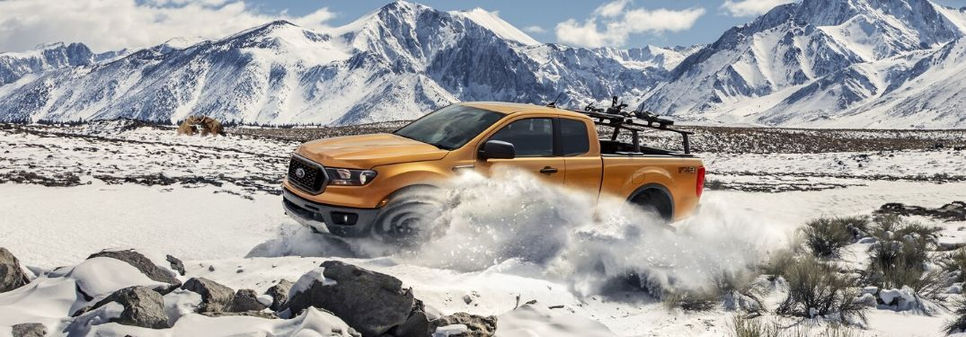 2020 Ford Ranger on snowy off-road terrain