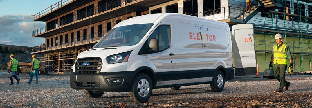 2020 Ford Transit cargo van on construction site