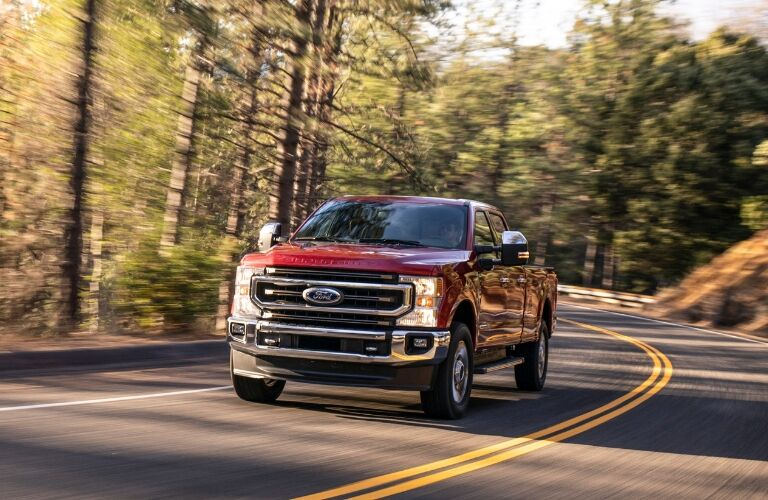 2020 Ford Super Duty F-250 rounding curve in road