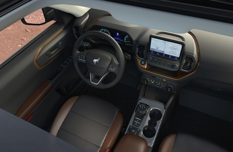 2021 Ford Bronco Sport dashboard and steering wheel