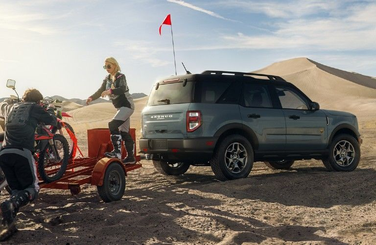 2021 Ford Bronco Sport towing bicycle trailer on sand