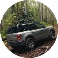 2021 Ford Bronco Sport with bikes on roof rack