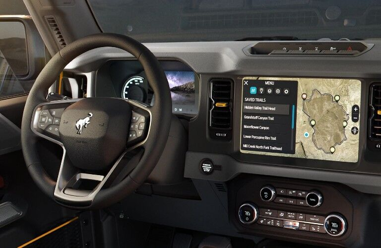 2021 Ford Bronco dashboard and steering wheel