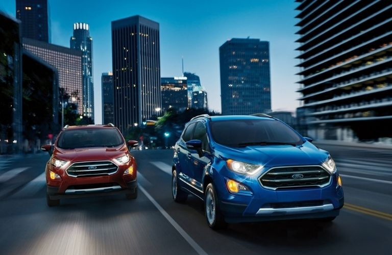Two 2021 Ford EcoSport on a highway