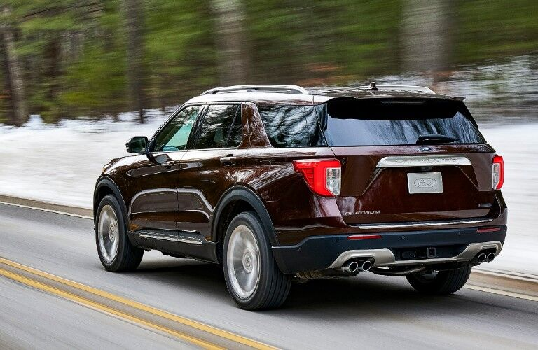 2021 Ford Explorer on snow-lined road