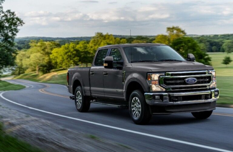 2021 Ford F-250 Super Duty on winding country road