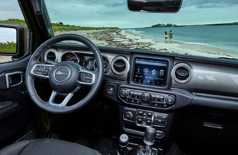 2021 Jeep Wrangler dashboard and steering wheel