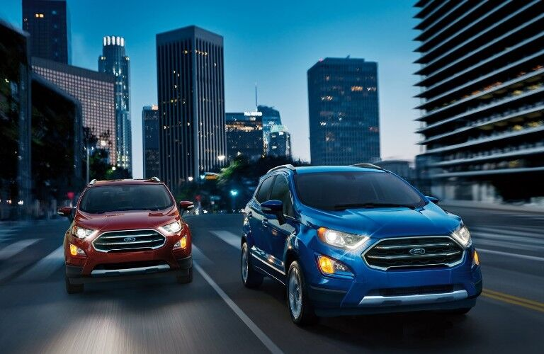 2021 Ford EcoSport crossovers on city street