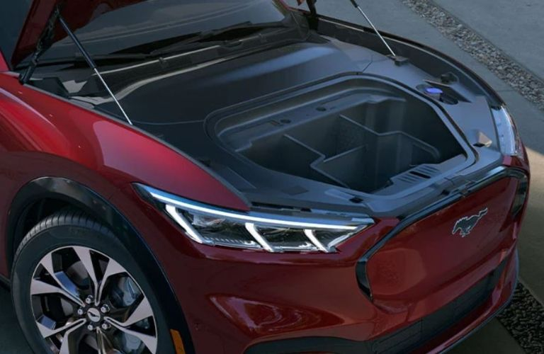 2021 Ford MACH-E Red with bonnet open