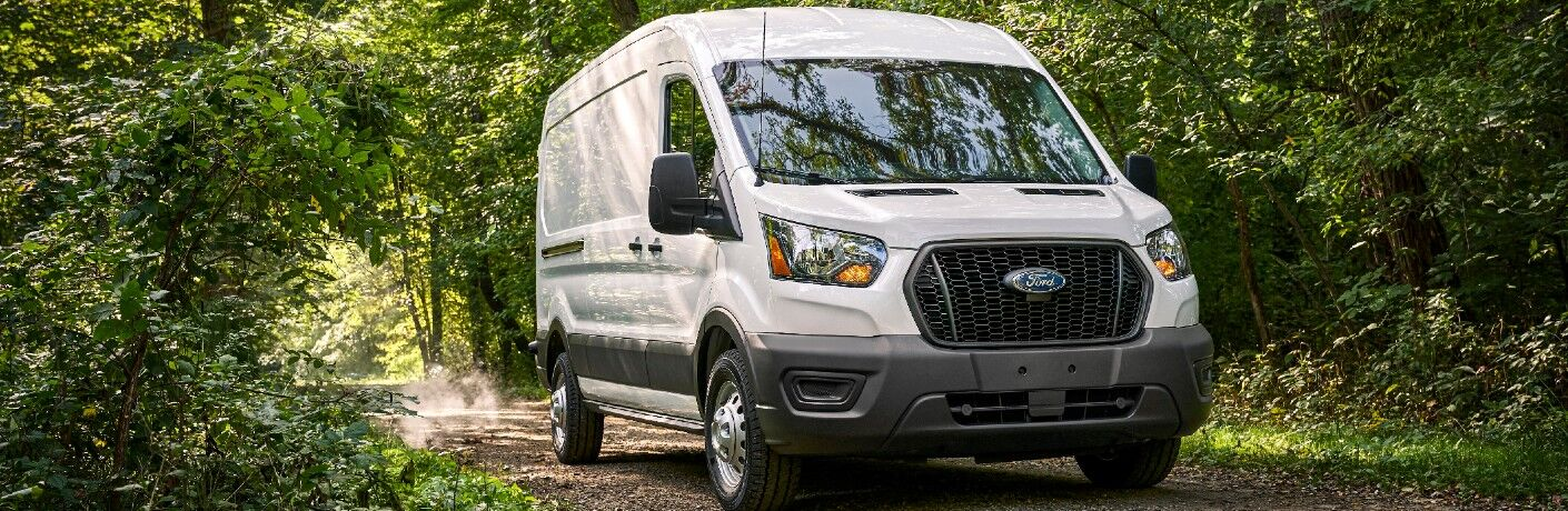 2021 Ford Transit on forest trail